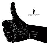 Thumb up hand sign, detailed black and white vector illustration Stock Images