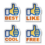Thumb up hand stickers Stock Images