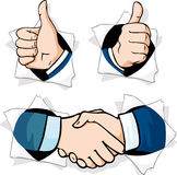 Thumb up - hands gesturing peering out of. A hole in a paper royalty free illustration