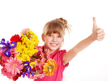 Thumb up of happy child. Royalty Free Stock Images