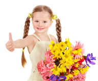 Thumb up of happy child. Stock Photos
