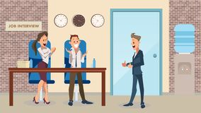 Thumb Up Happy Man, Smiling Office Worker Clap. Successful Job Interview at Modern Workplace. Recruitment. Partnership Begin. Employee Character Wear Suit Joy royalty free illustration