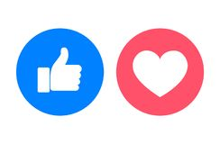 Thumb up and heart icons, vector illustration. Thumb up and heart icons close-up, vector illustration royalty free illustration