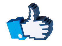 Thumb up icon. Made in papercraft over white background Royalty Free Stock Photo