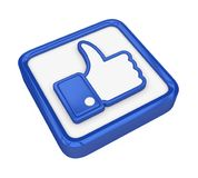 Thumb Up Icon Isolated. On white background. 3D render stock illustration