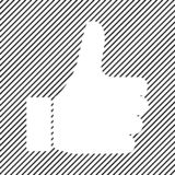 Thumb up icon, like icon on black striped background. Vector. Illustration royalty free illustration