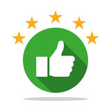 Thumb up icon with shadow with star rating stock illustration