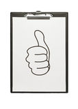 Thumb up illustration at the clipboard Royalty Free Stock Image