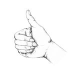 Thumb Up. Illustration of a hand with a thumb facing upwards Stock Photos