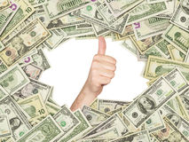 Thumb up inside the frame made of US Dollars Bills. All nominal bills both sides. Royalty Free Stock Photography