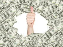 Thumb up inside the frame made of US Dollars Bills. Royalty Free Stock Photos
