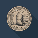 Thumb up label, social networks, vintage gravure Royalty Free Stock Photo