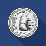 Thumb up label, vintage gravure style. Thumb up label, social networks, vector eps10 image vector illustration