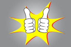 Thumb Up Left and Right Hand. On grey background Stock Photos