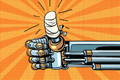 Thumb up like gesture, the robot hand is bandaged. Pop art retro vector illustration Stock Photo