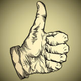 Thumb up like hand symbol. Royalty Free Stock Images