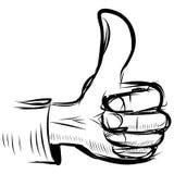 Thumb up like hand symbol. Sketch illustration royalty free illustration