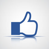 Thumb up. Like icon in blue. Vector illustration Stock Photography