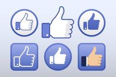 Thumb up, like icons vector set, social network Stock Photos