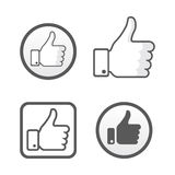Thumb up, like icons vector set, social network Stock Photo