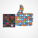 Thumb up - Like made of colorful blocks Stock Image