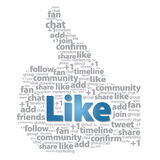 Thumb up - Like sign with social media words. A shape of thumb with like button and social media words vector illustration