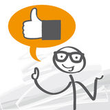 Thumb up - like. Thumb up in a speech bubble, illustration royalty free illustration