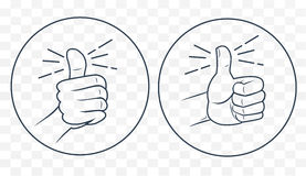 Thumb up in a linear style royalty free illustration