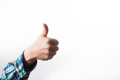 Thumb up of a man, guy,hipster in a plaid shirt, a business man Stock Photos