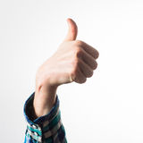 Thumb up of a man, guy,hipster in a plaid shirt, a business man, Stock Photos