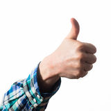 Thumb up of a man, guy,hipster in a plaid shirt, a business man, Stock Images