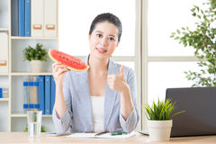 Thumb up mean this summer fruit watermelon is best Royalty Free Stock Images