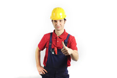 Thumb-up mechanic. Confidence mechanic thumb-up,proud of his skill royalty free stock photography