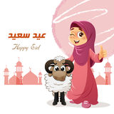 Thumb Up Muslim Girl with Sheep Royalty Free Stock Photography