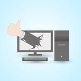 Thumb up pc computer. Concept abstract design Stock Images