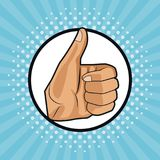 Thumb up pop art. Icon vector illustration graphic design stock illustration