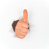 Thumb up positive wall Stock Photos