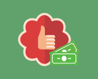 Thumb up on red badge with white edge and money Stock Photos