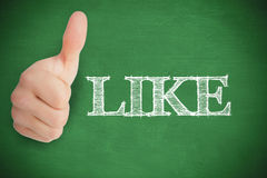 Thumb up representing social network logo on green background Stock Photo