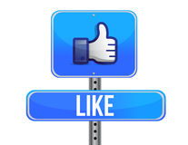 Thumb up road sign. Illustration design over a white background Stock Photography