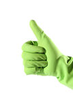 Thumb up in rubber glove Royalty Free Stock Image