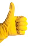 Thumb up in rubber glove Stock Images