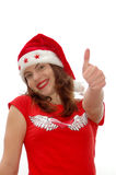 Thumb up Santa girl Stock Image