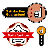 Thumb up satisfaction guaranteed label Stock Photos