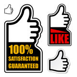 Thumb up satisfaction guaranteed label Stock Photography