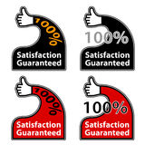 Thumb up satisfaction guaranteed labels Stock Photography