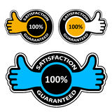 Thumb up satisfaction guaranteed labels royalty free illustration