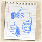 Thumb up set paper note, vector illustration Stock Photography