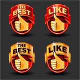 Thumb up. Set of red and gold thumb up icons for web design. Vector illustration Stock Images