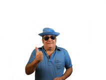 Thumb up SG. A man in sunglasses with his thumb up,over white Royalty Free Stock Photo